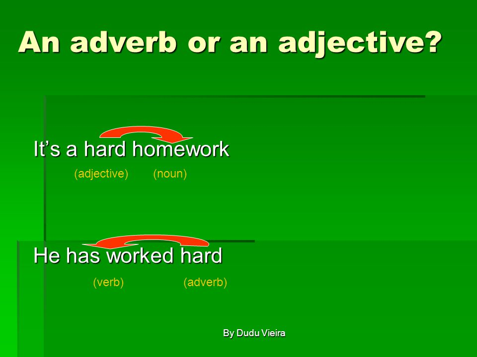 It's a hard homework He has worked hard (noun)(adjective) (verb)(adverb) An adverb or an adjective.