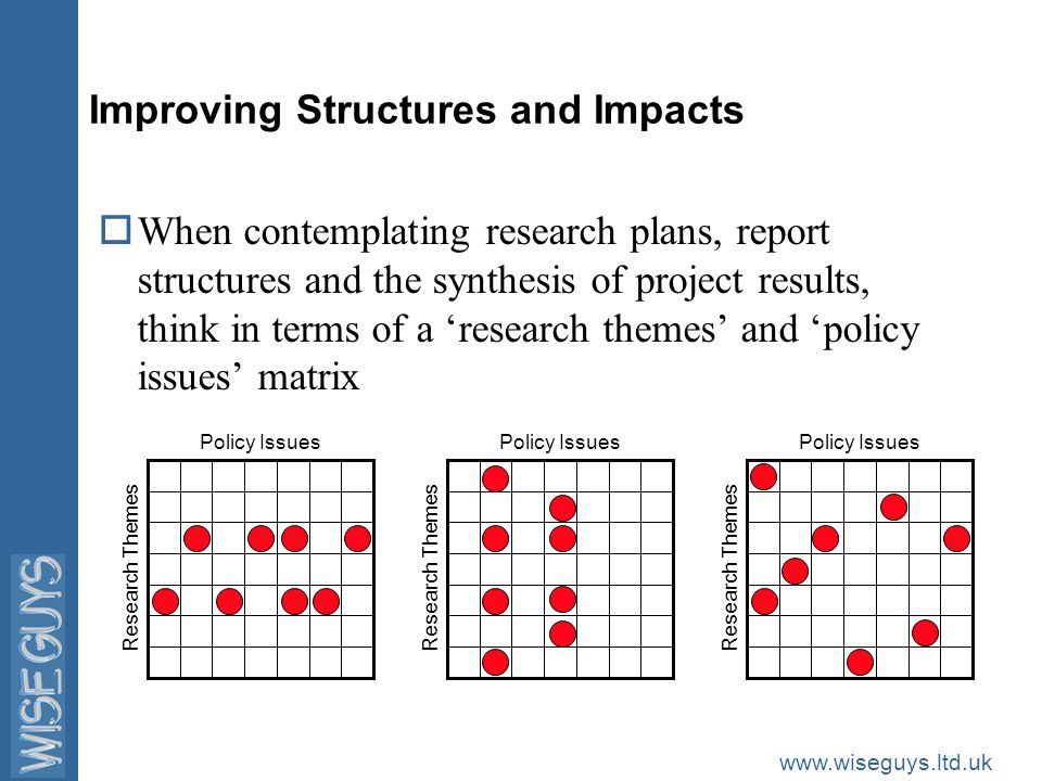 www.wiseguys.ltd.uk Improving Structures and Impacts oWhen writing Executive Summaries, think in terms of simple structures oIntroduction (aim, scope and methodology) oContext (main research themes and relevant policy issues) oResearch Results (key achievements and main scientific findings) oPolicy Implications (including recommendations) oFuture Research Needs