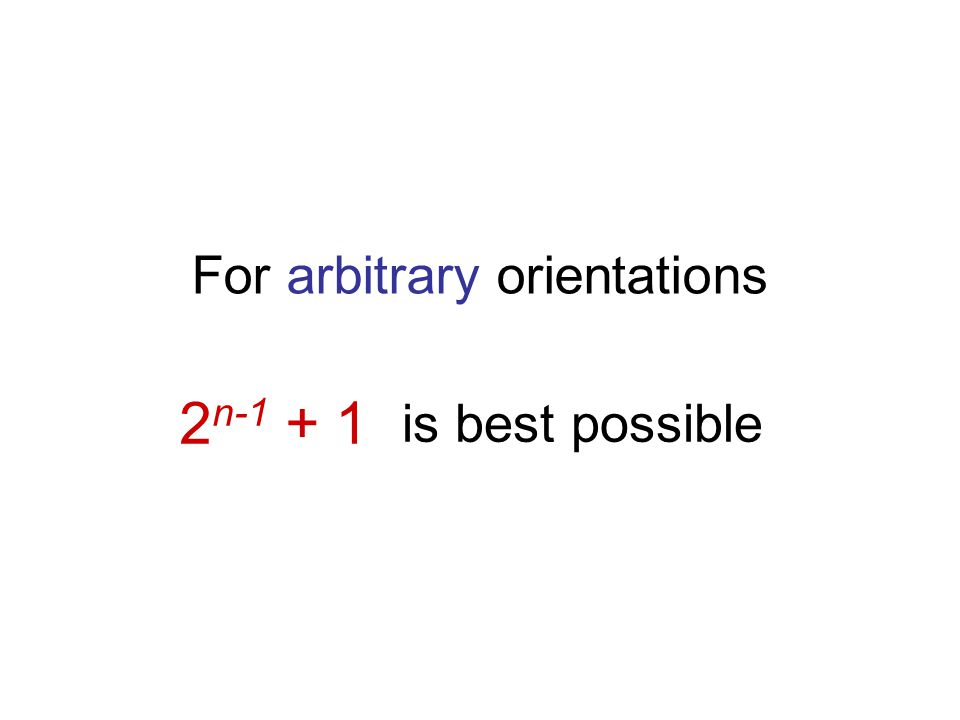 2 n-1 + 1 is best possible For arbitrary orientations
