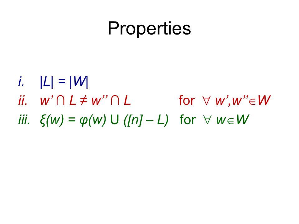 Properties i.|L| = |W| ii.w' ∩ L ≠ w'' ∩ L for  w',w''  W iii.ξ(w) = φ(w) U ([n] – L) for  w  W