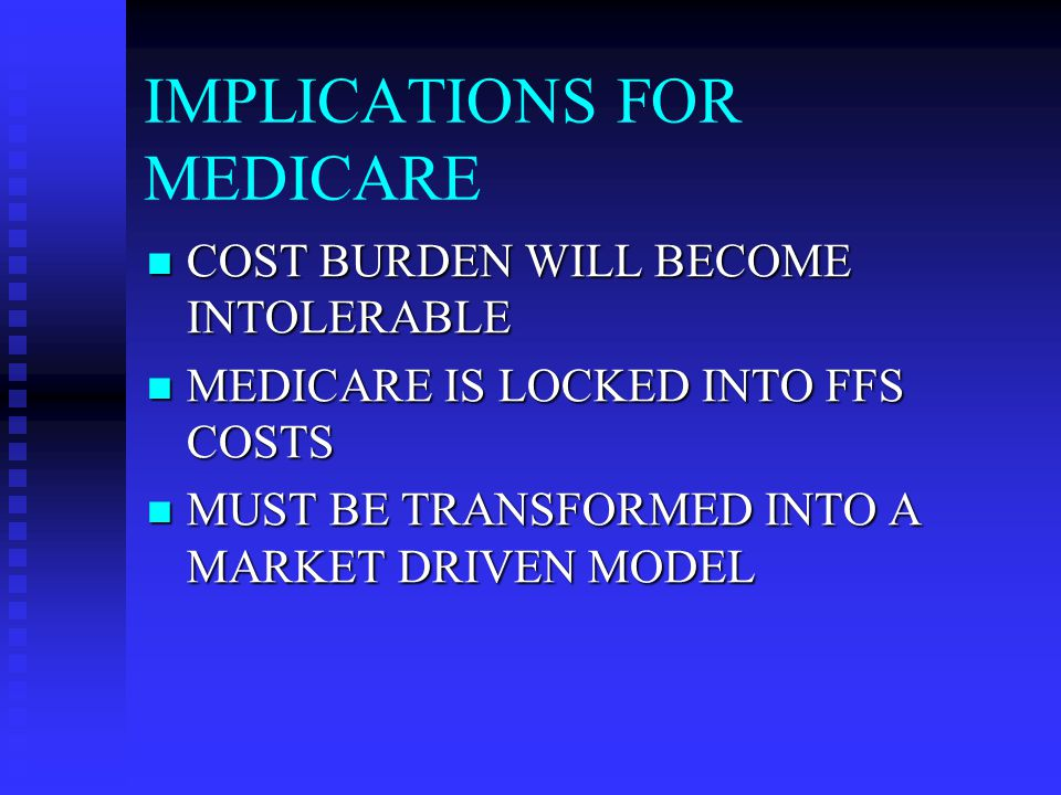 IMPLICATIONS FOR MEDICARE TRANSITION A LOT EASIER IF PRIVATE SECTOR WERE THERE TRANSITION A LOT EASIER IF PRIVATE SECTOR WERE THERE TAX BREAK SUBSIDIZES ABILITY OF PRIVATE SECTOR TO COMPETE WITH MEDICARE TAX BREAK SUBSIDIZES ABILITY OF PRIVATE SECTOR TO COMPETE WITH MEDICARE WE NEED BOTH PUBLIC AND PRIVATE SECTORS IN A MANAGED COMPETITION MODEL WE NEED BOTH PUBLIC AND PRIVATE SECTORS IN A MANAGED COMPETITION MODEL