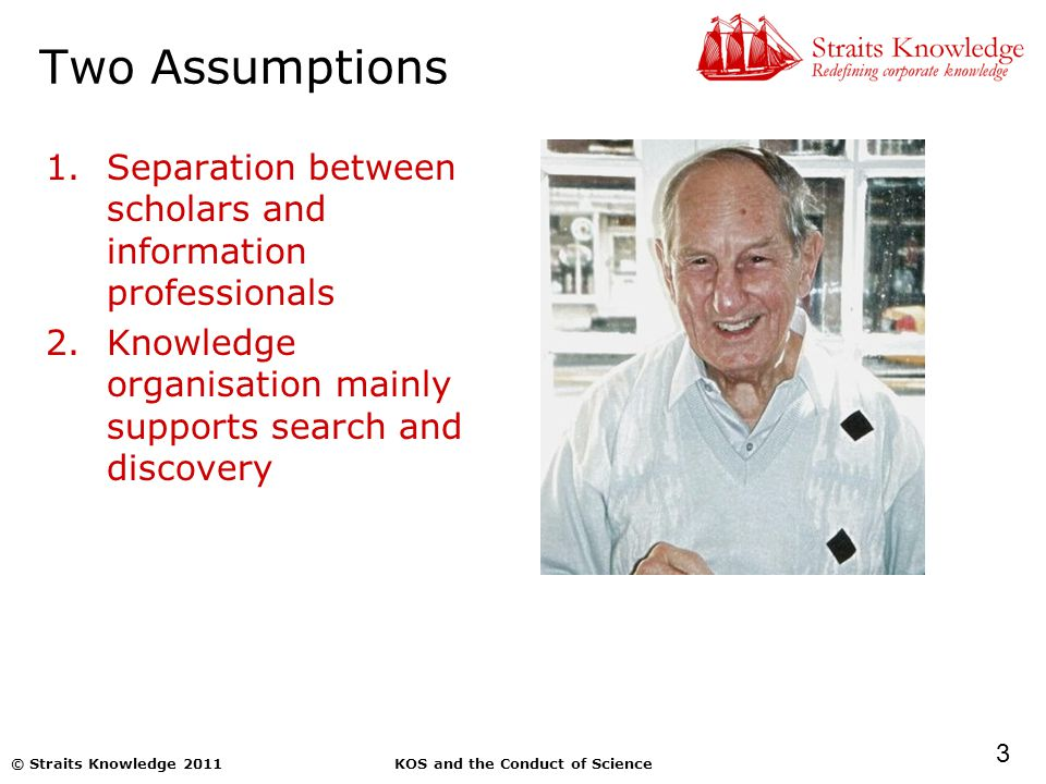 3 KOS and the Conduct of Science© Straits Knowledge 2011 Two Assumptions 1.Separation between scholars and information professionals 2.Knowledge organisation mainly supports search and discovery