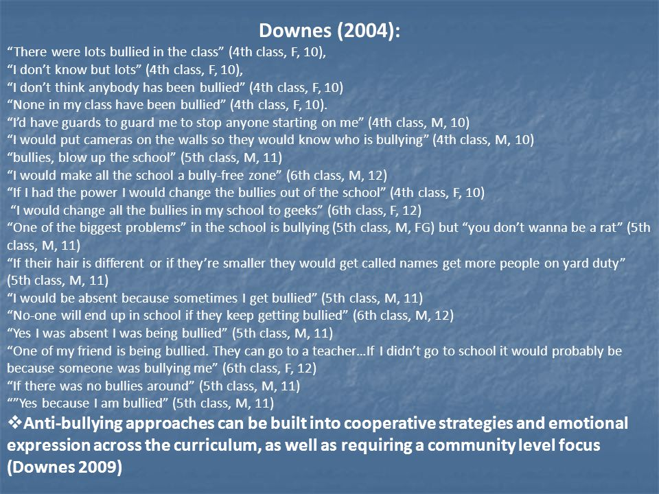 Downes (2004): There were lots bullied in the class (4th class, F, 10), I don't know but lots (4th class, F, 10), I don't think anybody has been bullied (4th class, F, 10) None in my class have been bullied (4th class, F, 10).