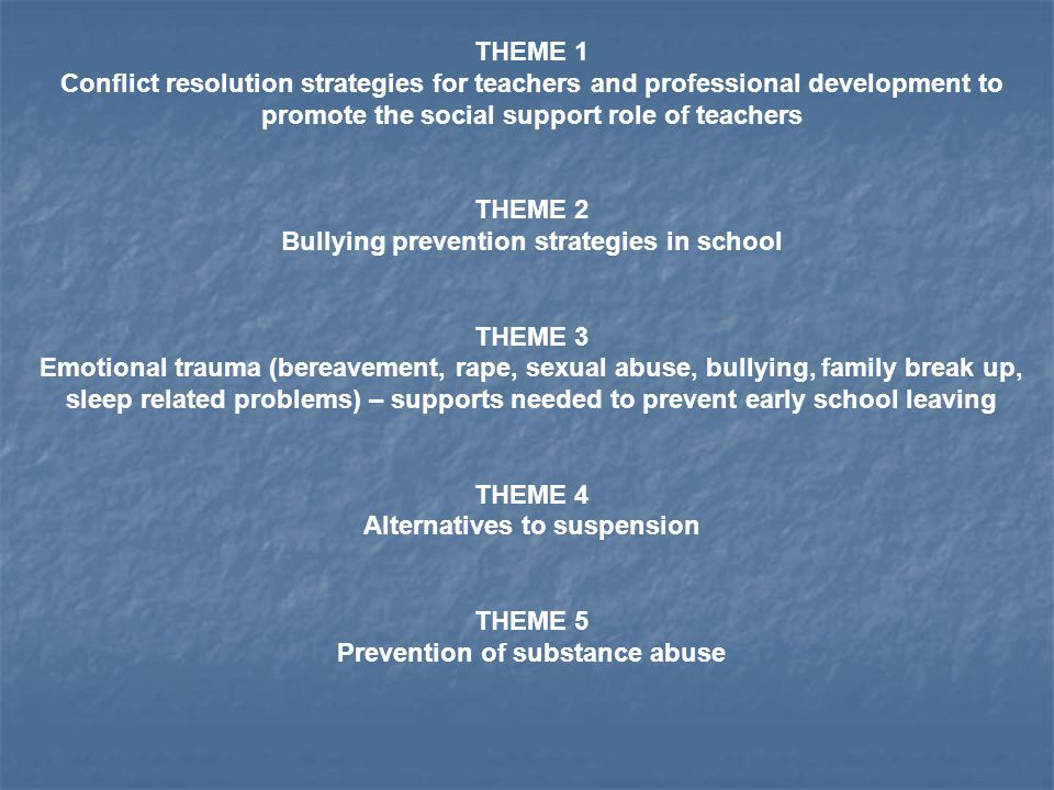 THEME 1 Conflict resolution strategies for teachers and professional development to promote the social support role of teachers THEME 2 Bullying prevention strategies in school THEME 3 Emotional trauma (bereavement, rape, sexual abuse, bullying, family break up, sleep related problems) – supports needed to prevent early school leaving THEME 4 Alternatives to suspension THEME 5 Prevention of substance abuse