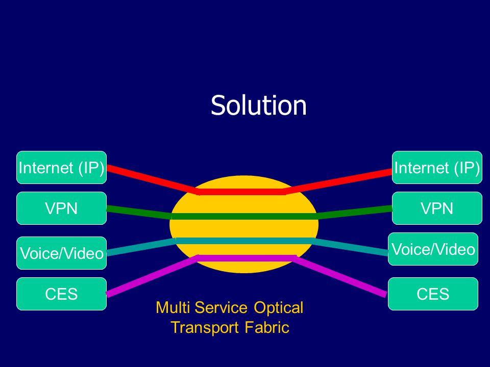 Solution Internet (IP) VPN Voice/Video CES Voice/Video CES Multi Service Optical Transport Fabric