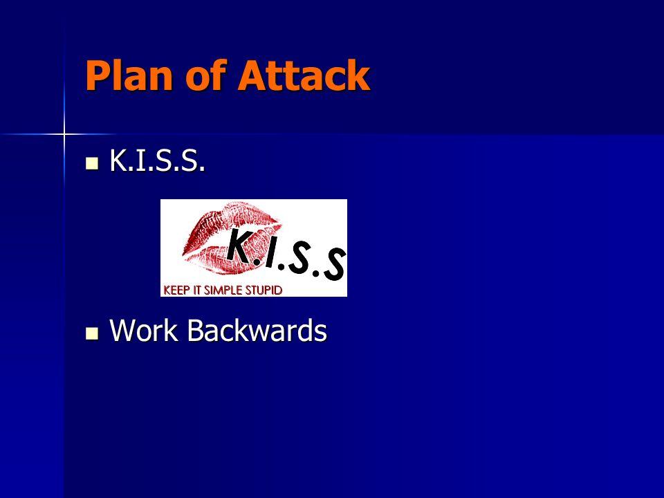 Plan of Attack K.I.S.S. K.I.S.S. Work Backwards Work Backwards