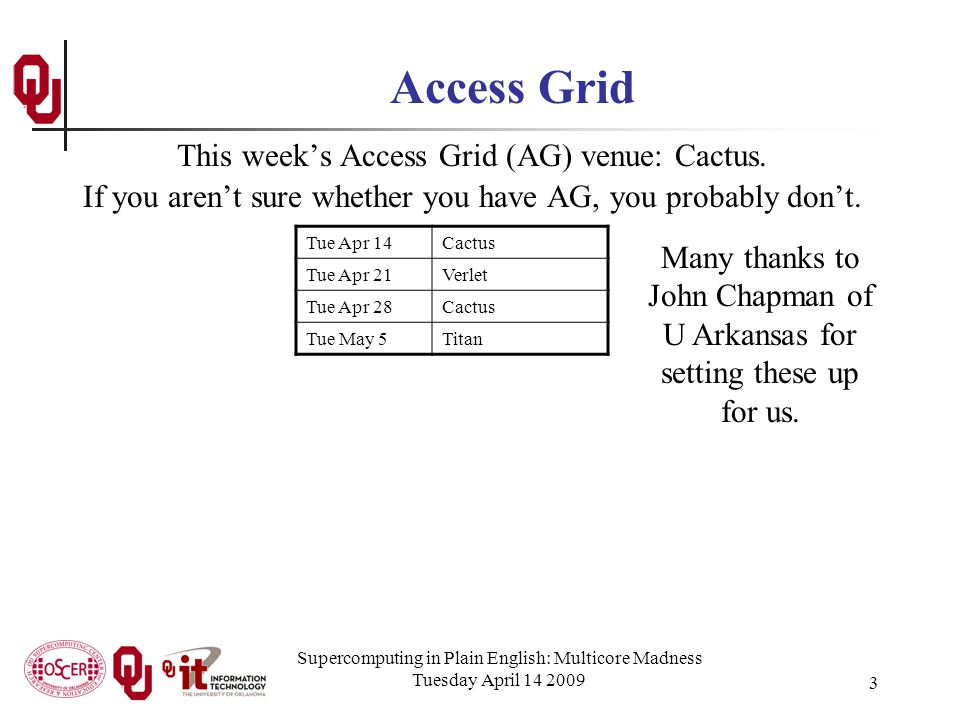 Supercomputing in Plain English: Multicore Madness Tuesday April 14 2009 3 Access Grid This week's Access Grid (AG) venue: Cactus.