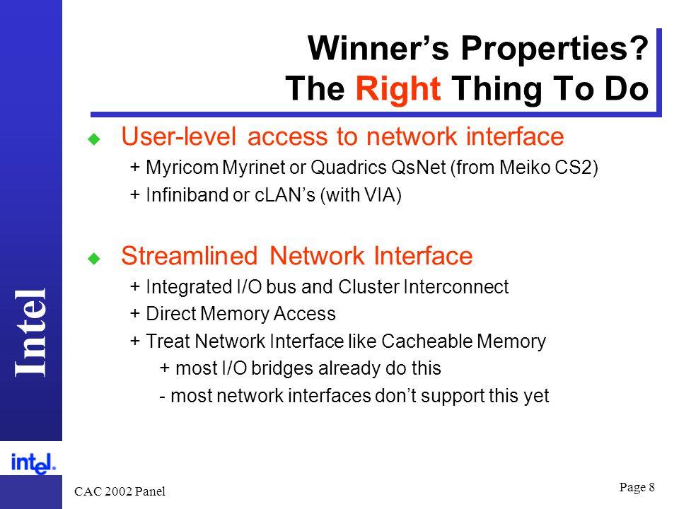 Intel CAC 2002 Panel Page 8 Winner's Properties.