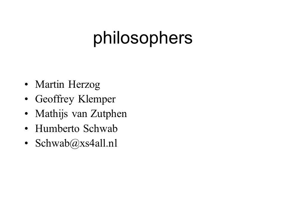 philosophers Martin Herzog Geoffrey Klemper Mathijs van Zutphen Humberto Schwab Schwab@xs4all.nl Black hole