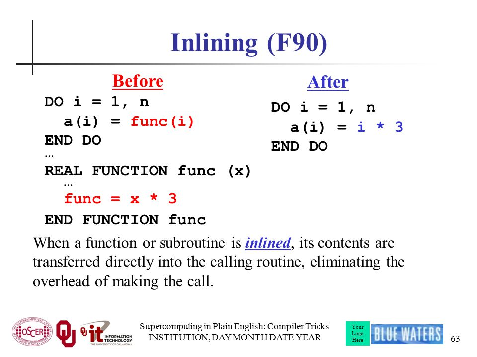 Your Logo Here Inlining (F90) DO i = 1, n a(i) = func(i) END DO … REAL FUNCTION func (x) … func = x * 3 END FUNCTION func Supercomputing in Plain English: Compiler Tricks INSTITUTION, DAY MONTH DATE YEAR 63 DO i = 1, n a(i) = i * 3 END DO Before After When a function or subroutine is inlined, its contents are transferred directly into the calling routine, eliminating the overhead of making the call.