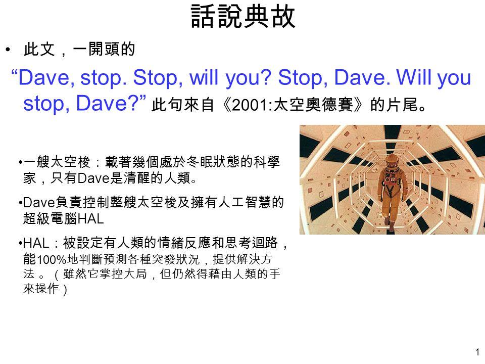 1 話說典故 此文,一開頭的 Dave, stop. Stop, will you. Stop, Dave.