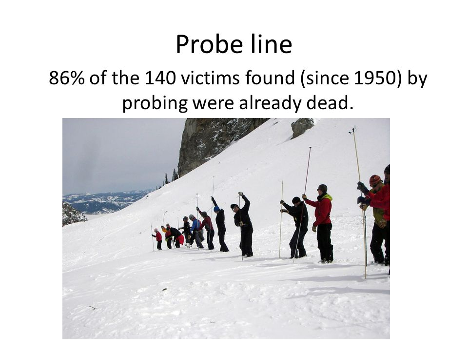 Probe line 86% of the 140 victims found (since 1950) by probing were already dead.