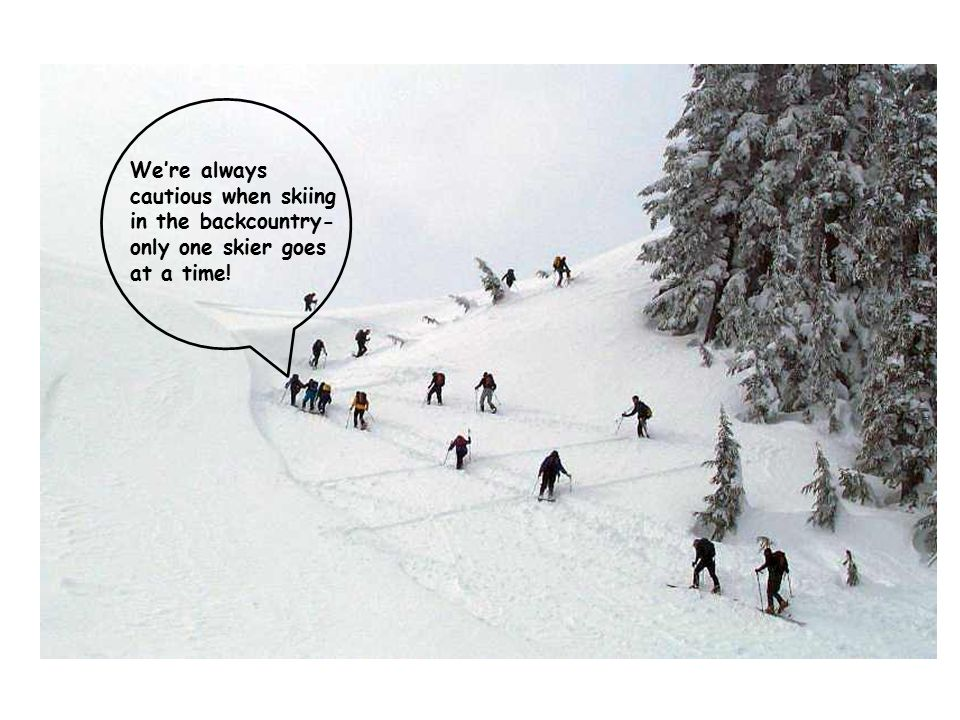 We're always cautious when skiing in the backcountry- only one skier goes at a time!