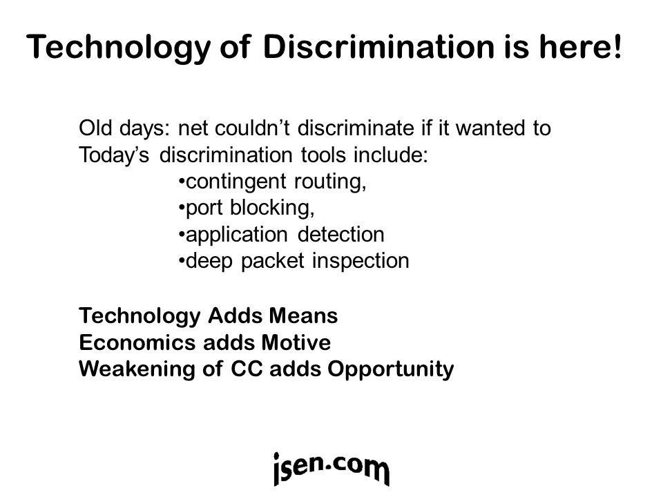 Technology of Discrimination is here.