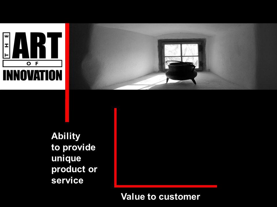 Value to customer Ability to provide unique product or service Ability to provide unique product or service