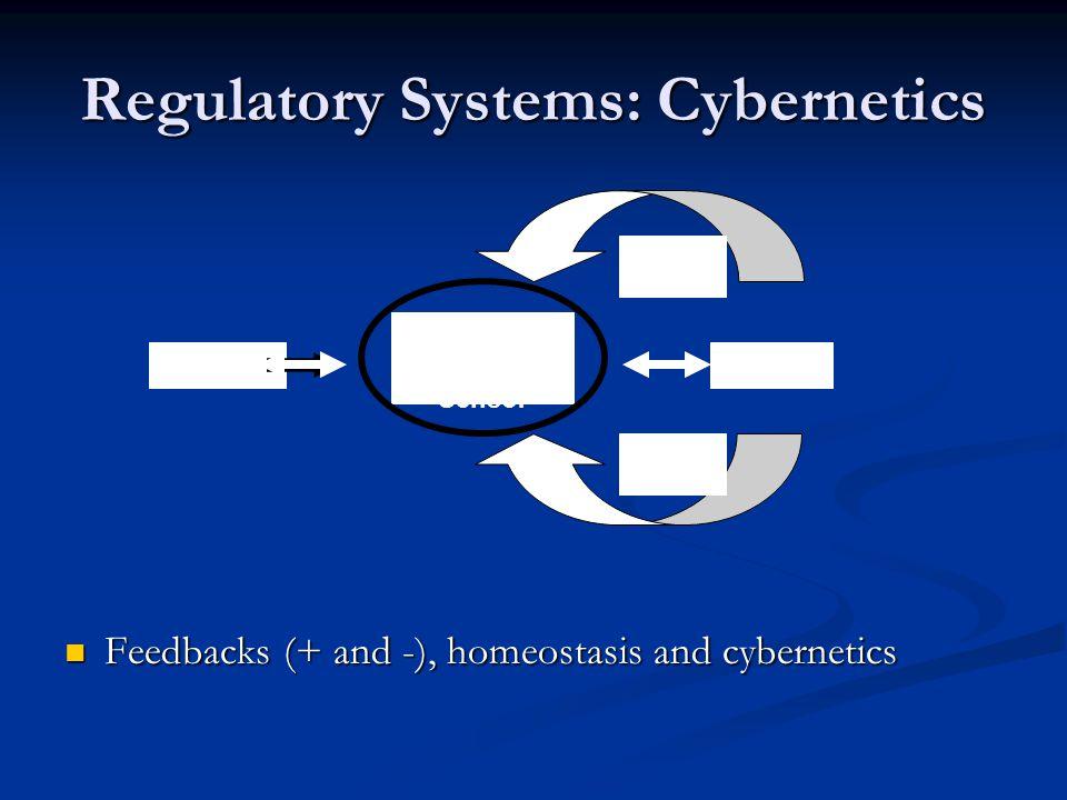 Regulatory Systems: Cybernetics Feedbacks (+ and -), homeostasis and cybernetics Feedbacks (+ and -), homeostasis and cybernetics Control Center/ Sens