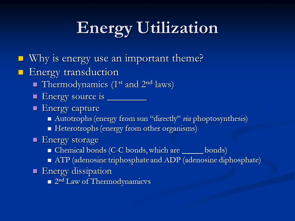 Energy Utilization Why is energy use an important theme? Why is energy use an important theme? Energy transduction Energy transduction Thermodynamics