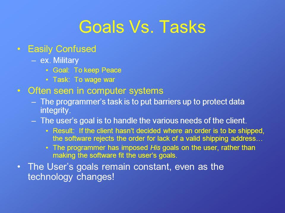 Goals Vs. Tasks Easily Confused –ex.