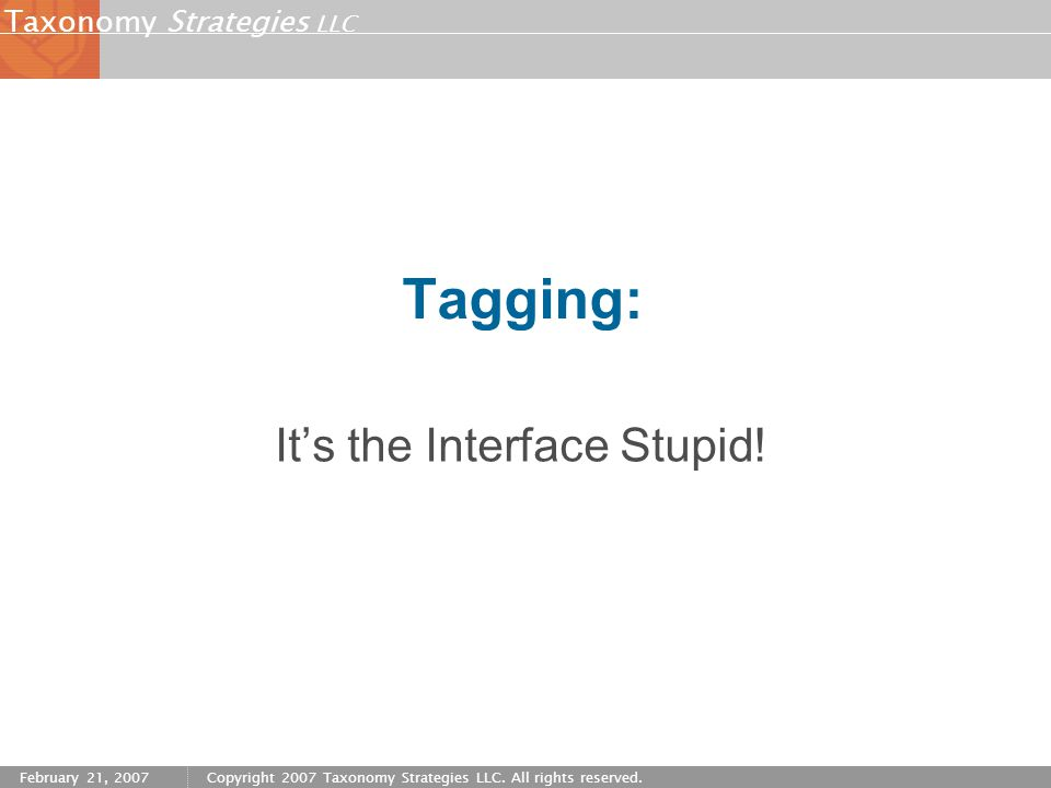 Strategies LLC Taxonomy February 21, 2007Copyright 2007 Taxonomy Strategies LLC. All rights reserved. Tagging: It's the Interface Stupid!