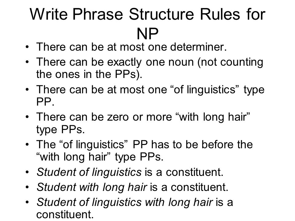 Write Phrase Structure Rules for NP There can be at most one determiner.