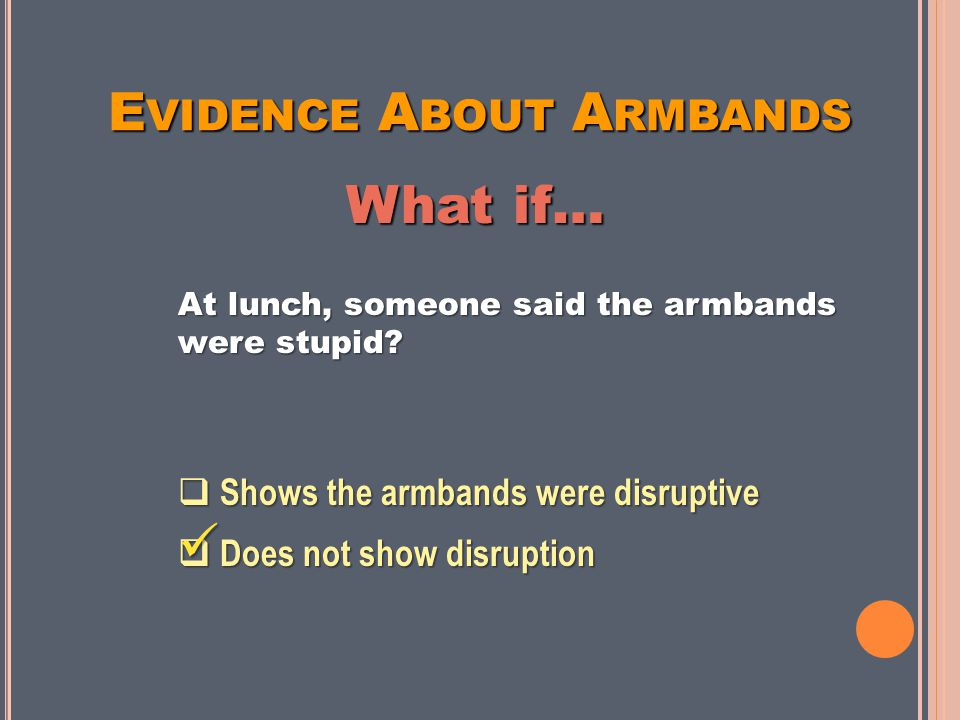 E VIDENCE A BOUT A RMBANDS At lunch, someone said the armbands were stupid.