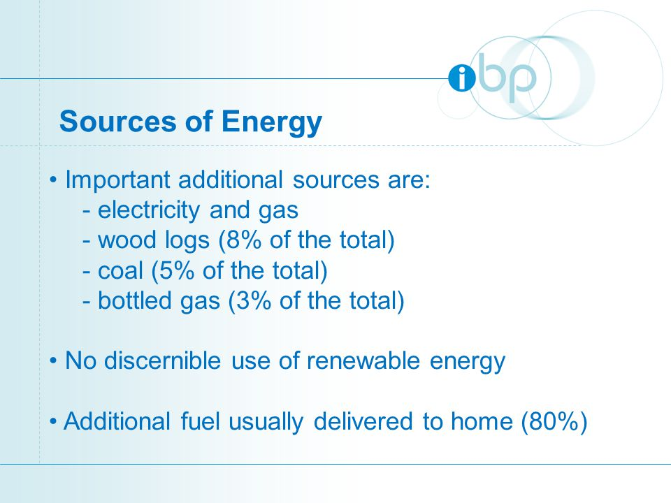 Sources of Energy Important additional sources are: - electricity and gas - wood logs (8% of the total) - coal (5% of the total) - bottled gas (3% of the total) No discernible use of renewable energy Additional fuel usually delivered to home (80%)