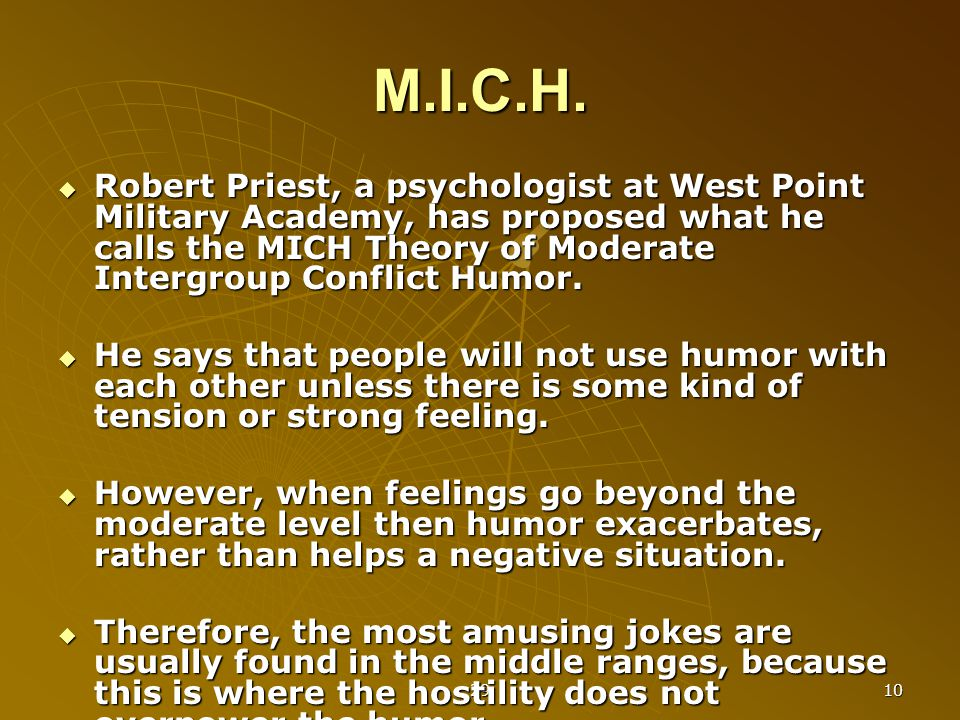 29 10 M.I.C.H.  Robert Priest, a psychologist at West Point Military Academy, has proposed what he calls the MICH Theory of Moderate Intergroup Confl