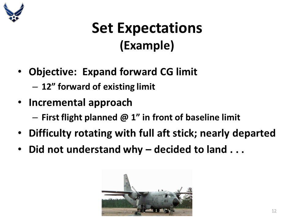 Set Expectations (Example) Objective: Expand forward CG limit – 12 forward of existing limit Incremental approach – First flight planned @ 1 in front of baseline limit Difficulty rotating with full aft stick; nearly departed Did not understand why – decided to land...