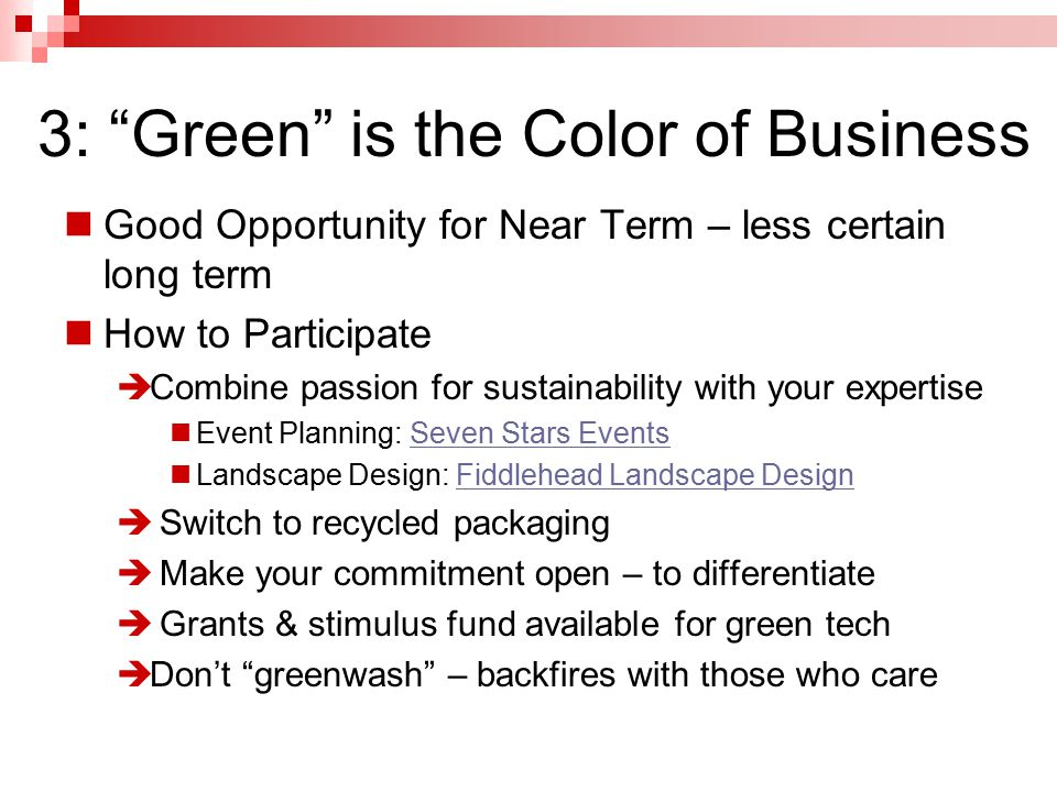 3: Green is the Color of Business Good Opportunity for Near Term – less certain long term How to Participate  Combine passion for sustainability with your expertise Event Planning: Seven Stars EventsSeven Stars Events Landscape Design: Fiddlehead Landscape DesignFiddlehead Landscape Design  Switch to recycled packaging  Make your commitment open – to differentiate  Grants & stimulus fund available for green tech  Don't greenwash – backfires with those who care
