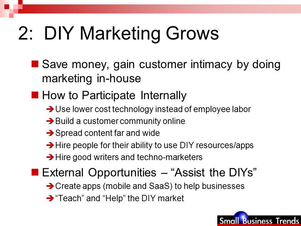 2: DIY Marketing Grows Resources – stunning array of DIY tools  Email marketing: Vertical Response; Constant Contact  Banner ads: PointBanner.com  Postcards: HP Creative Studio; USPS; Vista Print  Community & learning software: Prfessor.com; WordPress MU; BuddyPress; Ning; VBulletin  Follow-on marketing automation: Hubspot; Infusionsoft  SEO: LotusJump.com; SEOMoz; Knowem.com  DIY public relations: PRWeb.com  Advertising: Google AdWords