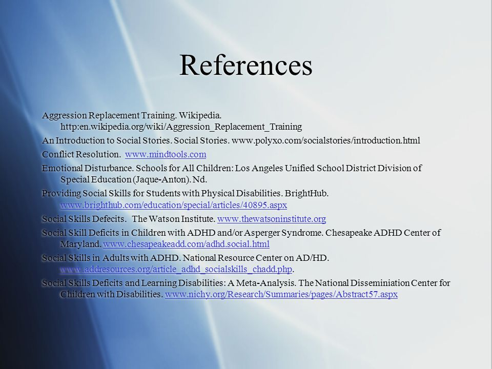 References Aggression Replacement Training. Wikipedia.