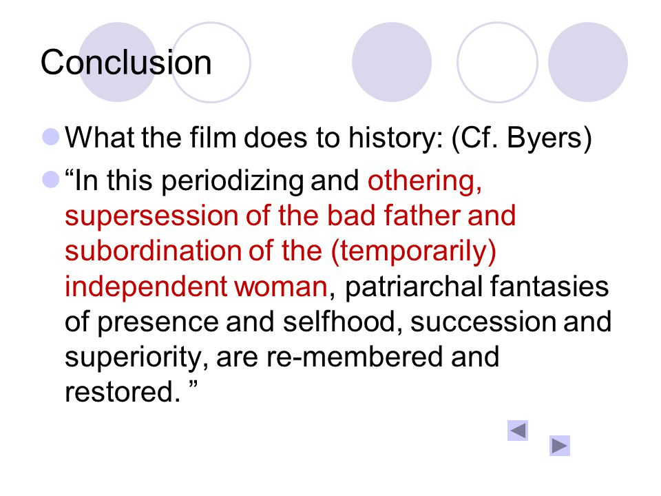Conclusion What the film does to history: (Cf.
