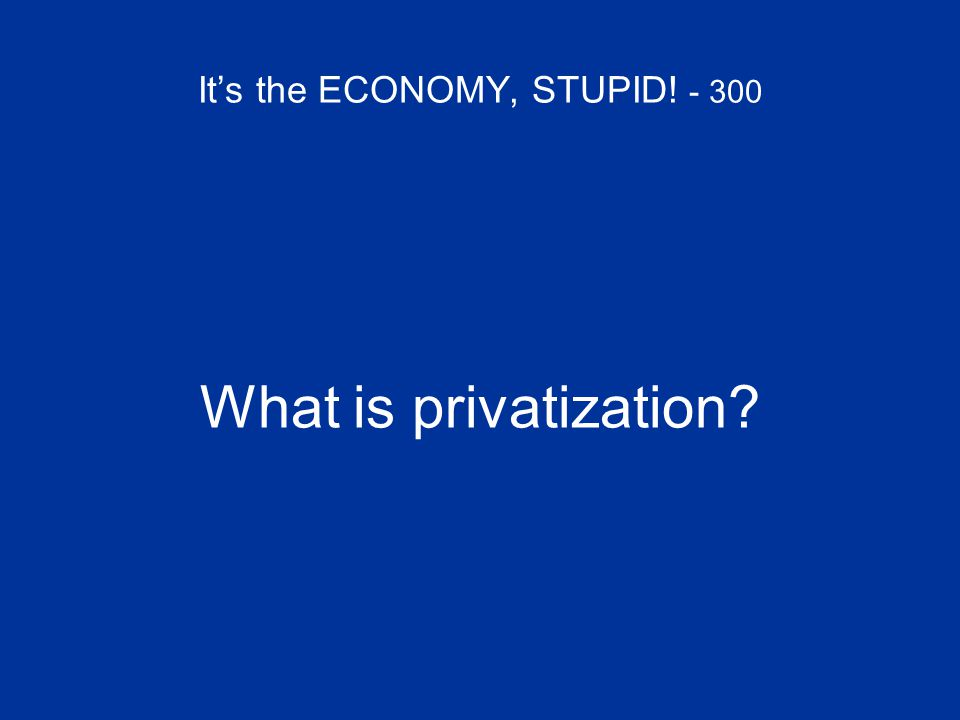 It's the ECONOMY, STUPID! - 300 What is privatization?