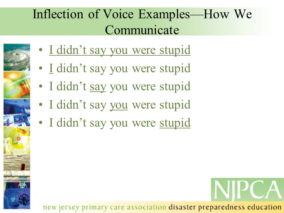 Inflection of Voice Examples—How We Communicate I didn't say you were stupid