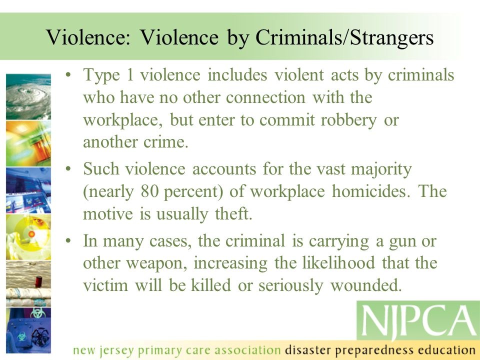 References FEMA Courses: IS-106.11 - Workplace Violence Awareness Training 2011 IS-906 - Workplace Security Awareness IS-907 - Active Shooter: What You Can Do Phil McCabe of UMDNJ SPH