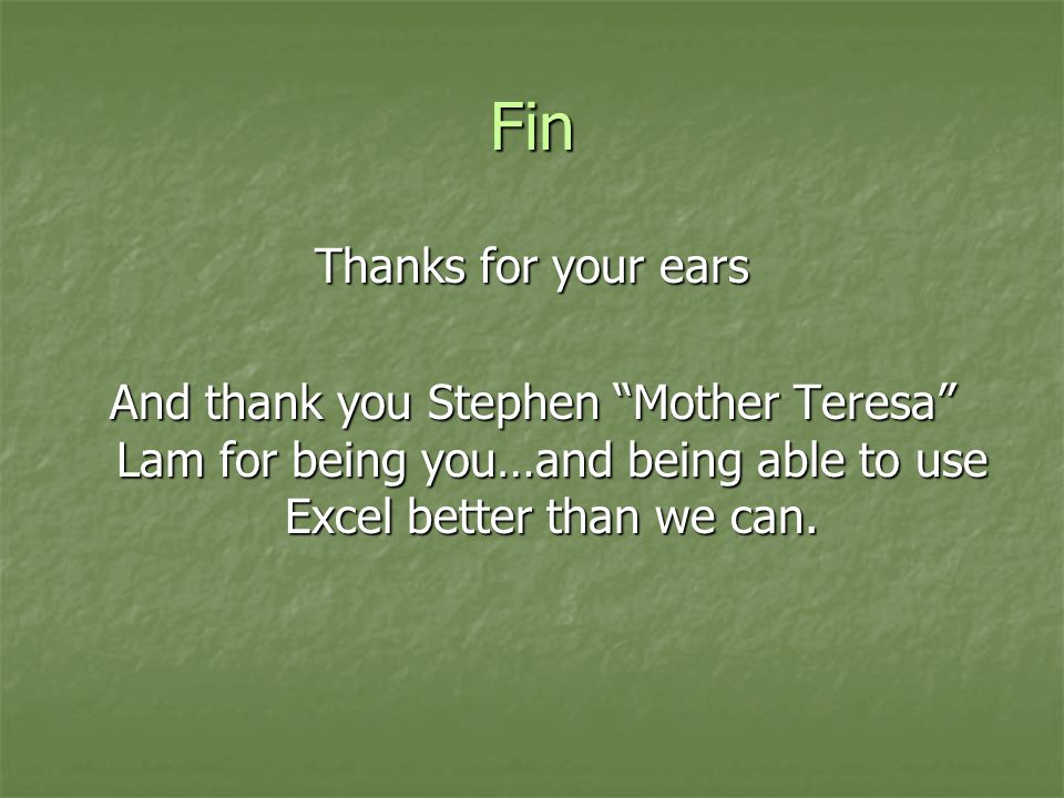Fin Thanks for your ears And thank you Stephen Mother Teresa Lam for being you…and being able to use Excel better than we can.