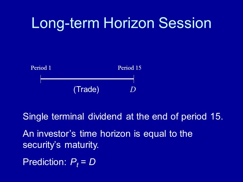 Long-term Horizon Session Single terminal dividend at the end of period 15. An investor's time horizon is equal to the security's maturity. Prediction
