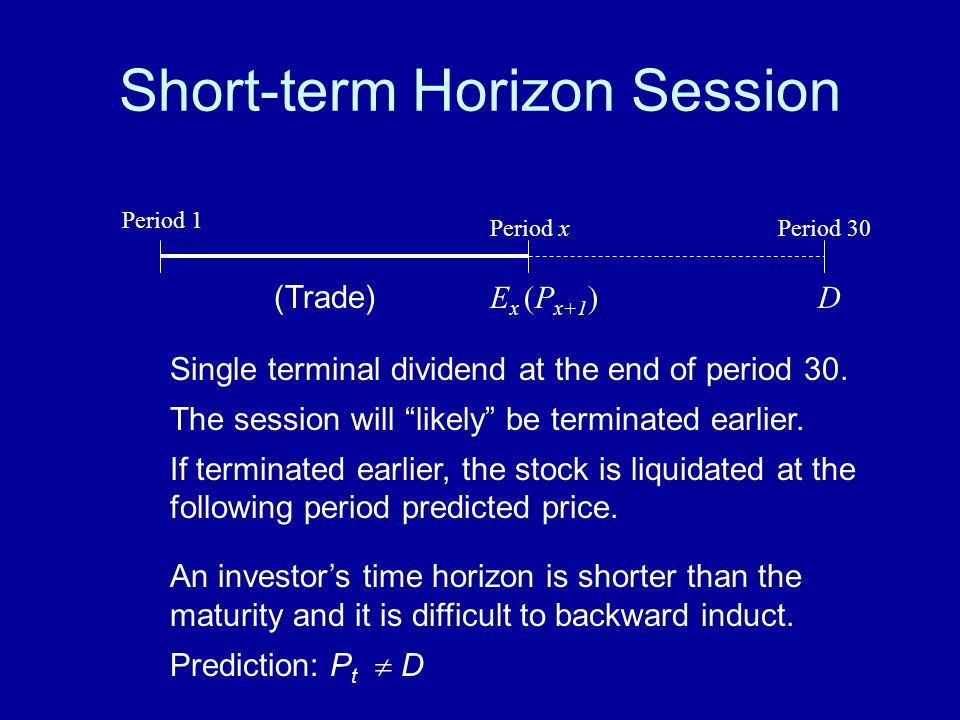 "Short-term Horizon Session Single terminal dividend at the end of period 30. The session will ""likely"" be terminated earlier. If terminated earlier, t"