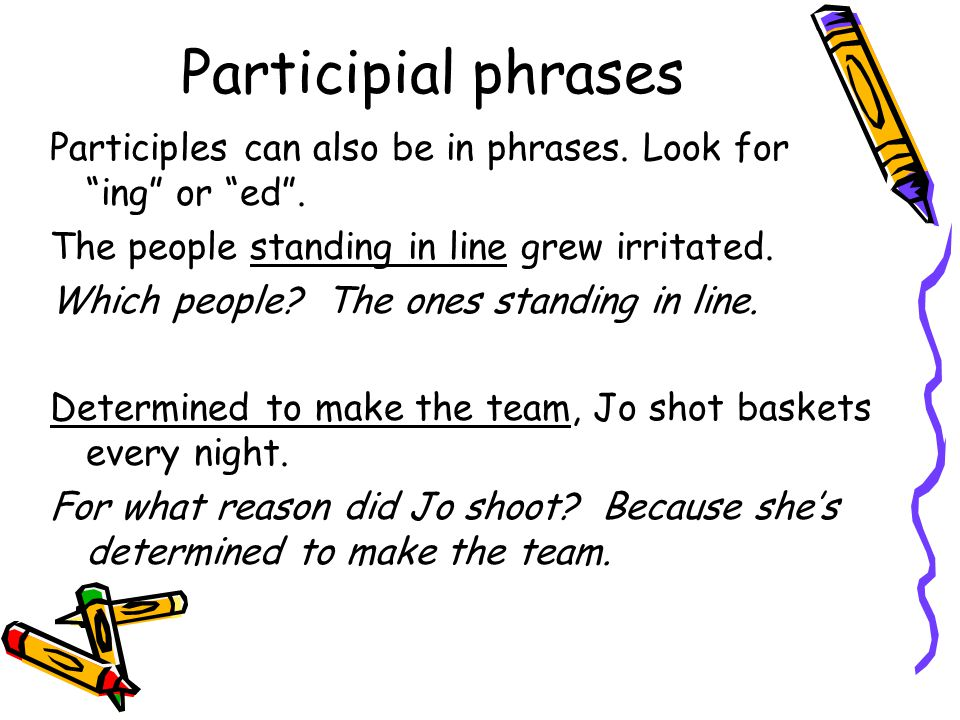 Participial phrases Participles can also be in phrases.