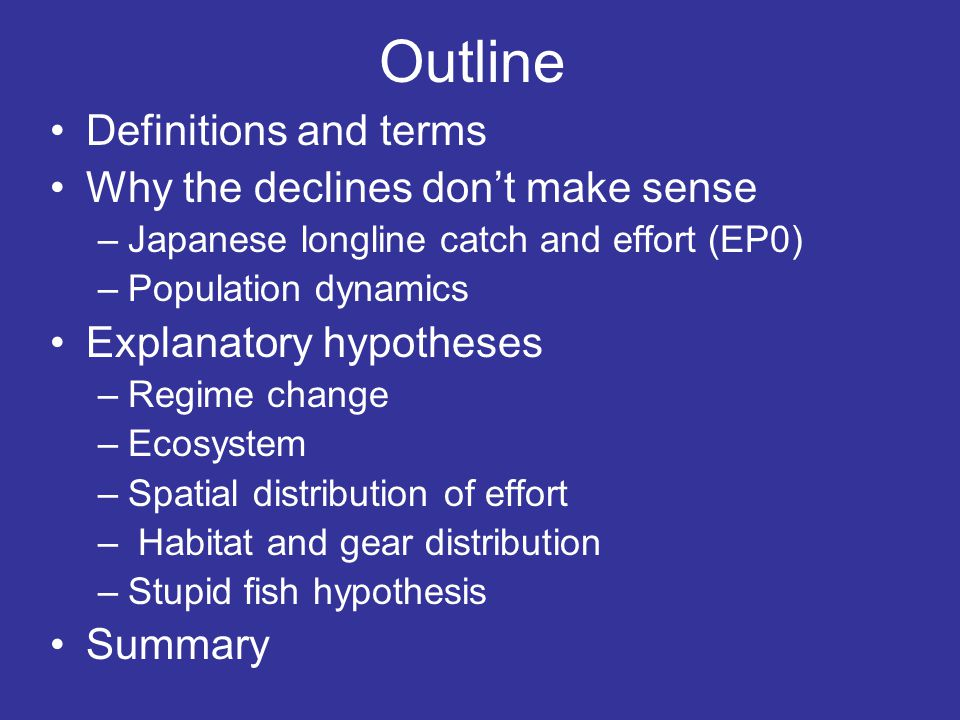 Definitions CPUE = catch-per-unit-of-effort Nominal CPUE Fitting a model Carrying capacity – Average abundance in the absence of fishing