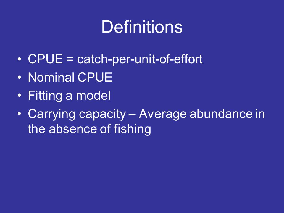 Simulation of effort expansion Effort increases by 100 units every 5 years Movement of effort only occurs every five years No movement of fish among areas In highest profit hypothesis, new effort goes into new area and old effort stays in the same area In highest CPUE hypothesis, all effort goes into new area