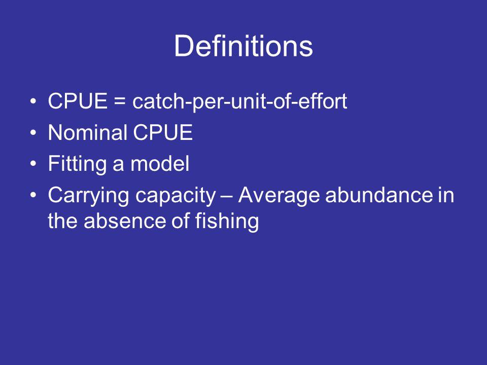 Basic assumption C = EqA C/E = qA Where: C= catch, E = effort, and A = abundance