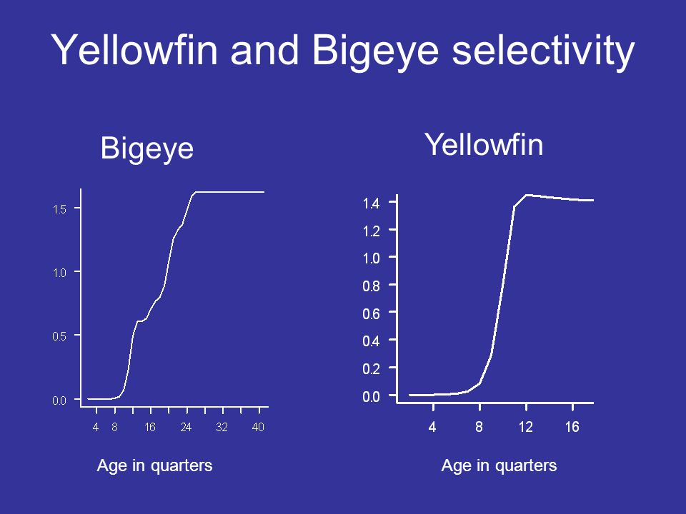 Yellowfin and Bigeye selectivity Bigeye Yellowfin Age in quarters
