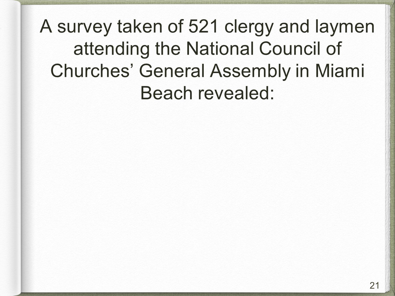 21 A survey taken of 521 clergy and laymen attending the National Council of Churches' General Assembly in Miami Beach revealed: