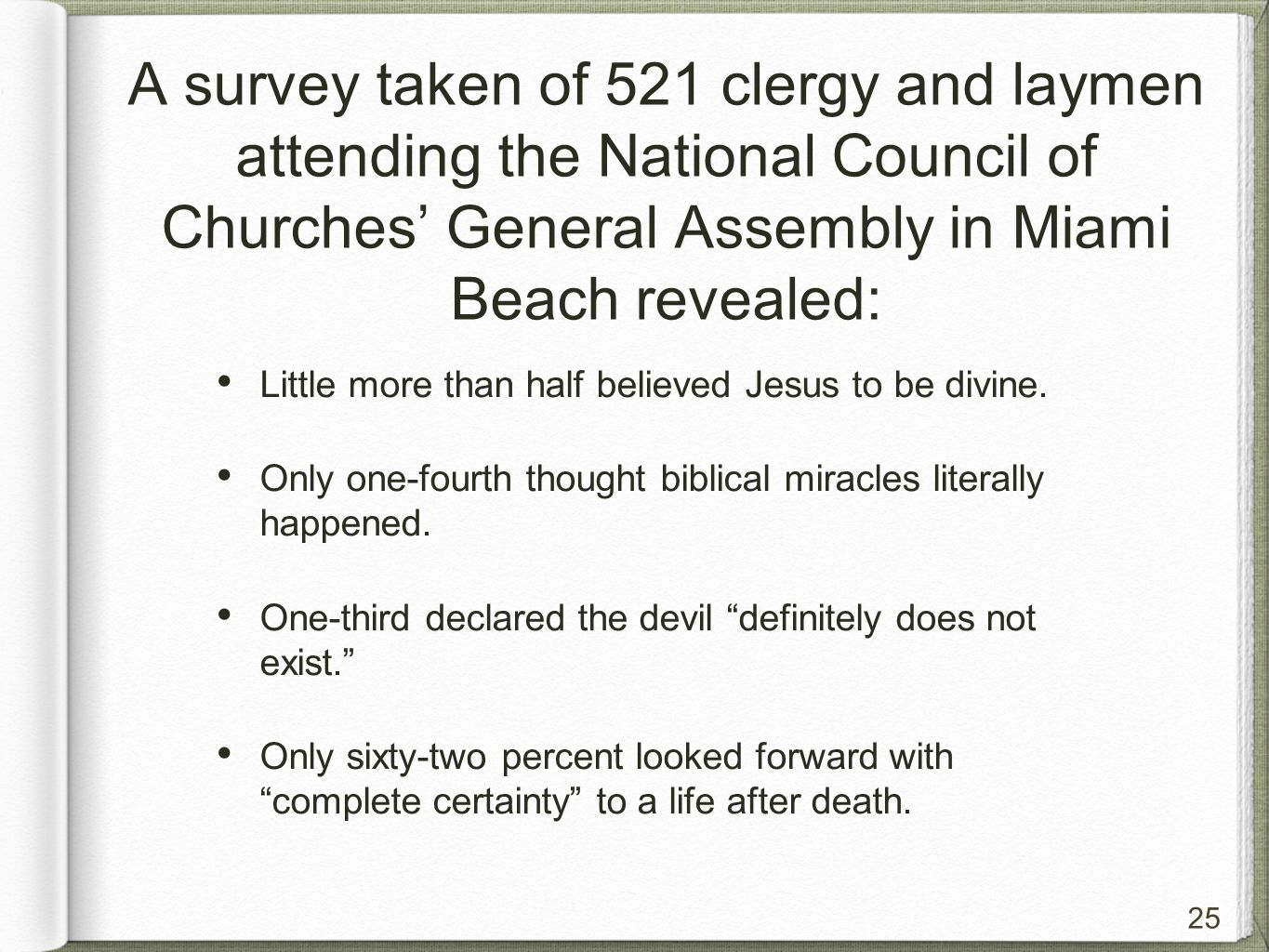 25 A survey taken of 521 clergy and laymen attending the National Council of Churches' General Assembly in Miami Beach revealed: Little more than half believed Jesus to be divine.