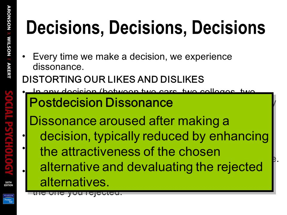 Decisions, Decisions, Decisions Every time we make a decision, we experience dissonance.