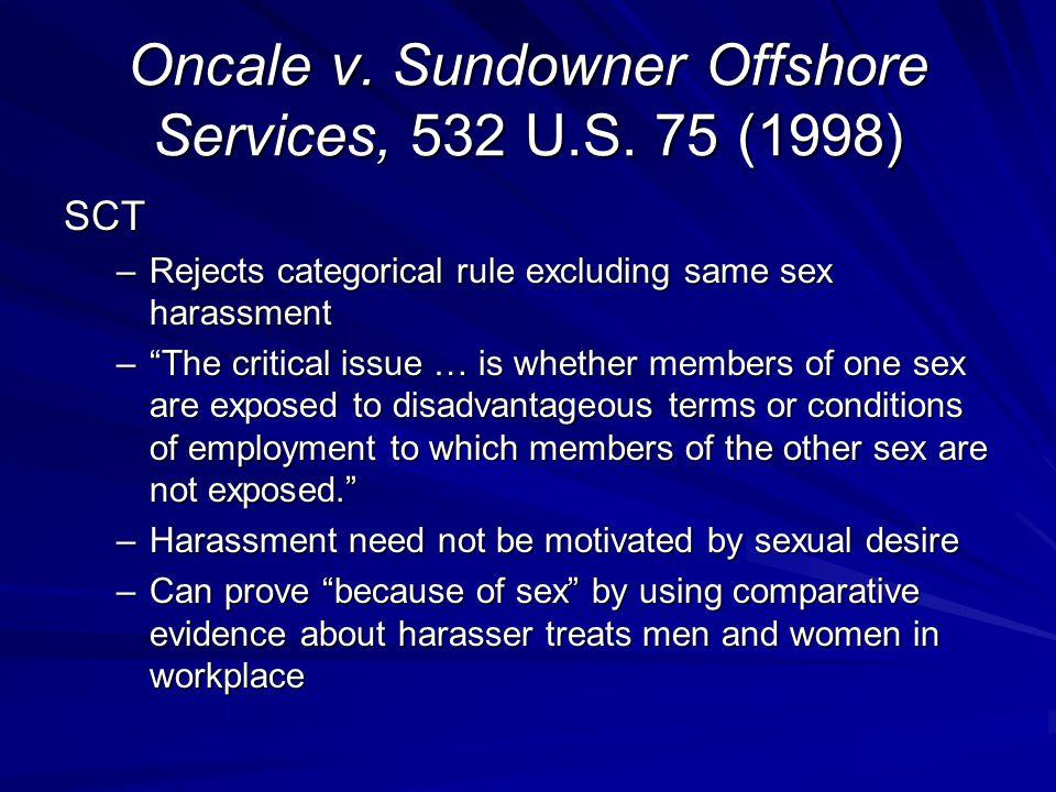 Oncale v.Sundowner Offshore Services, 532 U.S.