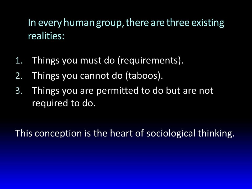 In every human group, there are three existing realities: 1.
