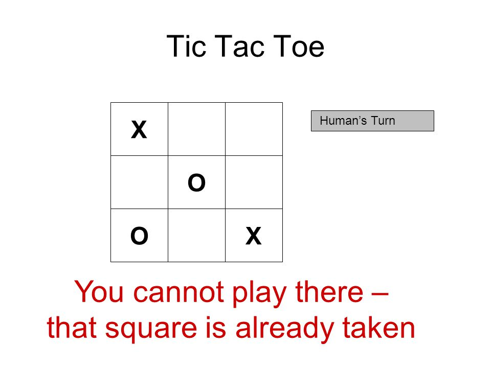 Tic Tac Toe X Human's Turn O OX You cannot play there – that square is already taken