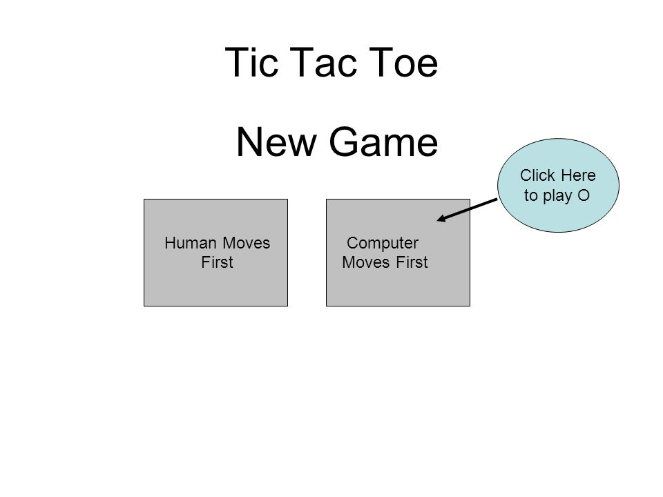 Computer Moves First Tic Tac Toe Human Moves First Click Here to play O New Game